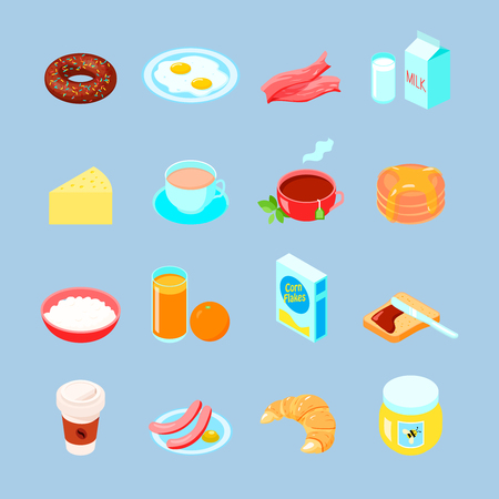 corn flakes: Breakfast food and drinks colorful flat icon set with  coffee  tea eggs vector illustration