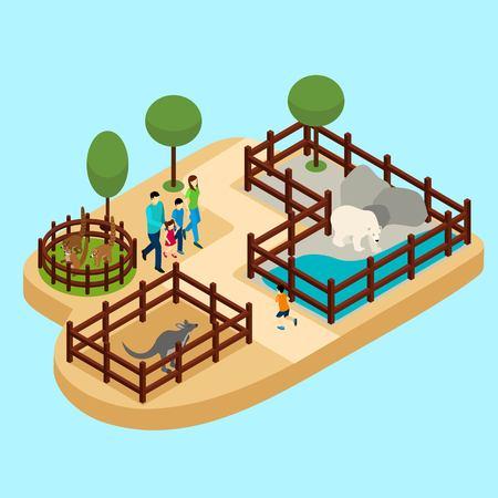 zoologico: Familia en el parque zoológico con el oso y canguro en fondo azul ilustración isométrica del vector Vectores
