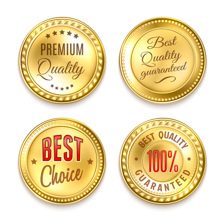 Best choice quality premium 4 round golden labels collection realistic isolated vector illustration