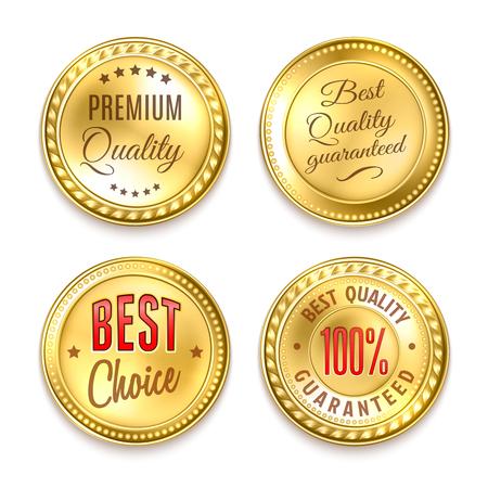 Beste keuze kwaliteitspremie 4 round gouden labels collectie realistische geïsoleerde vector illustratie Vector Illustratie