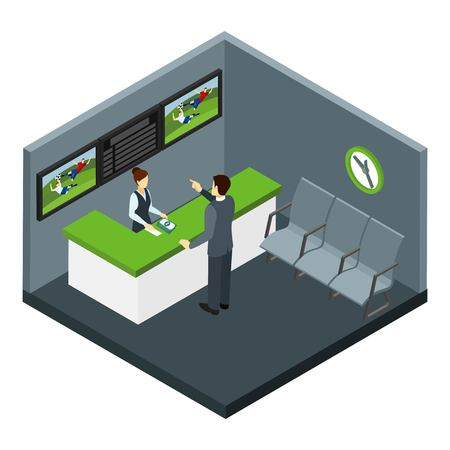 sports hall: Bets and gambling with football and sports bets symbols isometric vector illustration