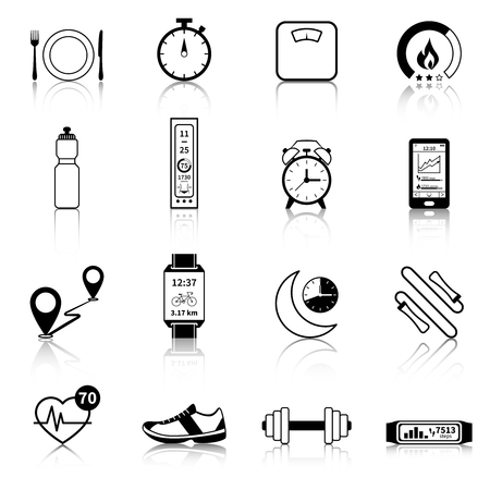 calories: Fitness tracker black icons for modern control of body weight calories and heart rate vector illustration Illustration