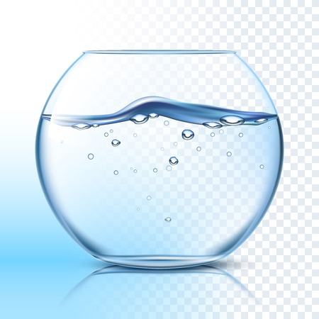Round glass fishbowl with clean water wavy surface against grey checkered background and blue background vector illustration