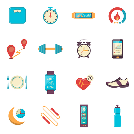 Fitness tracker flat color icons with modern digital devices for health control during physical activity isolated vector illustration 版權商用圖片 - 51139097