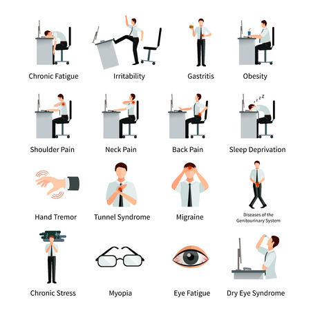Office syndrome flat icons set with employees at desk and  inscriptions about negative impact of sitting work isolated vector illustration Illustration