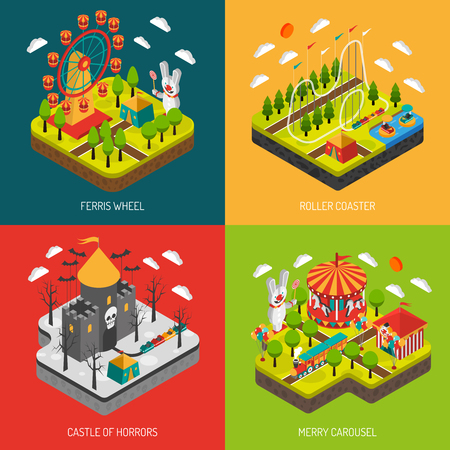 observation: Amusement part 4 isometric icons square composition banner with big observation wheel attraction abstract isolated vector illustration