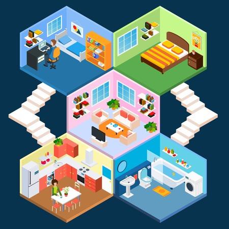 toilete: Multistory apartamento interior isom�trica con dormitorios living ba�o y cocina ilustraci�n vectorial