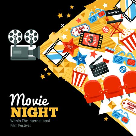 camara de cine: Cartel internacional de festivales de cine con tickets de estrellas fugaces y símbolos ilustración vectorial plana