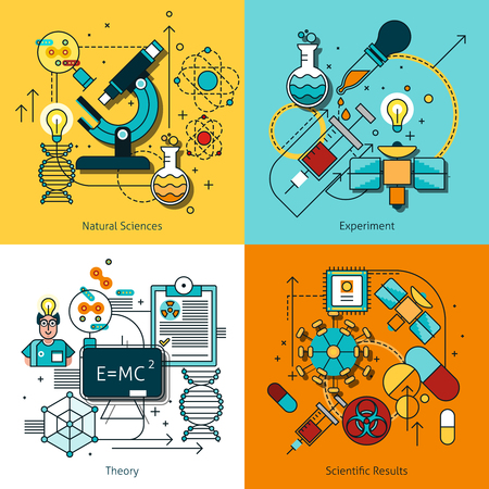theory: Science concept line icons set with theory and experiment symbols flat isolated vector illustration