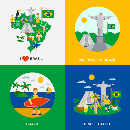 national colors: World cultural travel 4 flat icons square composition with brazilian national symbols and colors abstract vector illustration Illustration