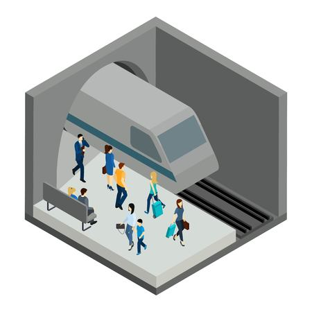 clothes rail: Underground people with train bench and platform isometric vector illustration