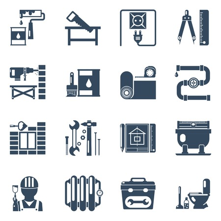improvement: Home improvement repair and remodeling service with tools and utensils black icons set abstract vector isolated illustration