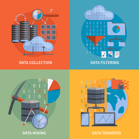 database server: Data processing 2x2 flat design concept set of collection filtering mining  transfer data vector illustration