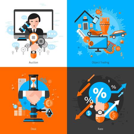 real business: Flat color 2x2 auction concept set with trading objects deal bargaining icons and rate graphs vector illustration