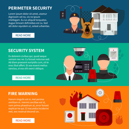 home security: Home security horizontal banners set of security electronic system fire warning and perimeter security flat vector illustration Illustration