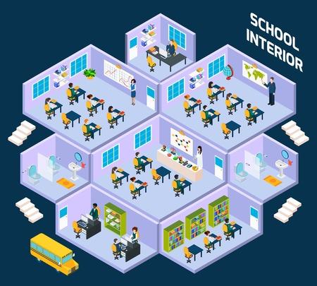 Ecole intérieure isométrique avec l'intérieur de toute la classe des élèves et des enseignants illustration vectorielle