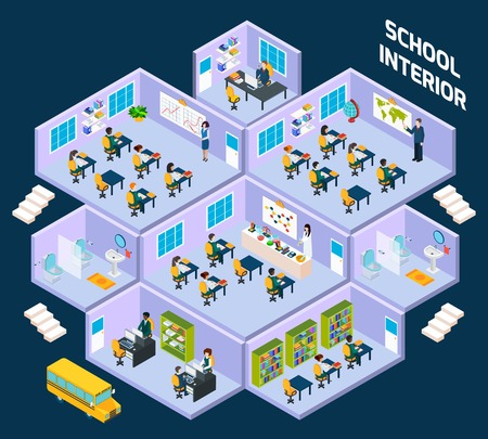 school class: School isometric interior with classroom indoors full of students and teachers vector illustration