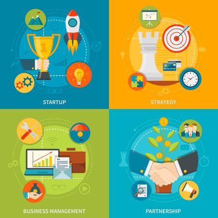 concepto de diseño 2x2 Emprendimiento conjunto de cooperación de gestión de negocios y la estrategia puesta en marcha composiciones planas ilustración vectorial