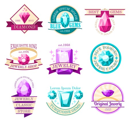 jewelry store: Jewel emblems set with jewelry store and original jewelry symbols flat isolated vector illustration