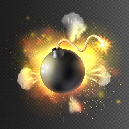 fear cartoon: Boom little round bomb exploding with festive light clouds against black background icon print abstract vector illustration