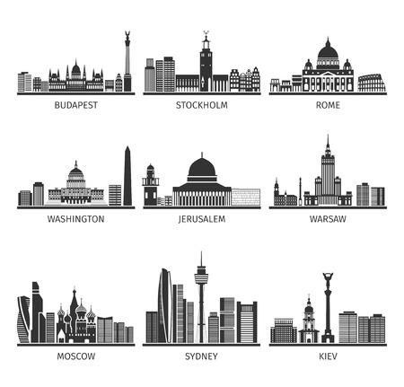 Mondiale famose capitali paesaggi distintivo dell'architettura turistiche e luoghi di interesse pittogrammi neri insieme astratto illustrazione vettoriale isolato