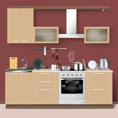 Realistic kitchen interior modern design concept with furniture oven and household utensils vector illustration