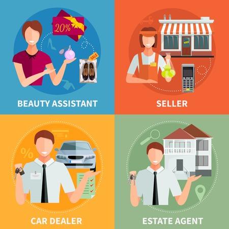 Salesman 2x2 design concept set with car diller estate agent seller and beauty assistant flat vector illustration Illustration