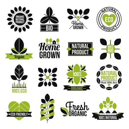 sello: Org�nica etiqueta del producto natural, fijado para la publicidad de comida sana y fresca ilustraci�n vectorial aislado plana