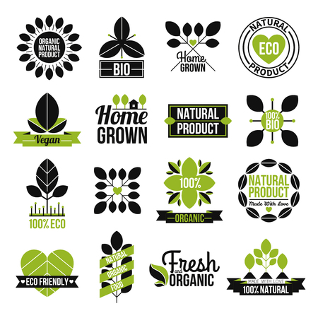 home grown: Organic natural product label set for advertising healthy and fresh food flat isolated vector illustration