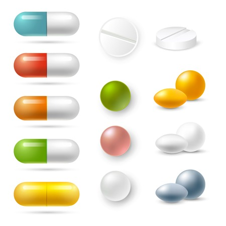 granules: Realistic pills and granules in different colors icons set isolated vector illustration Illustration
