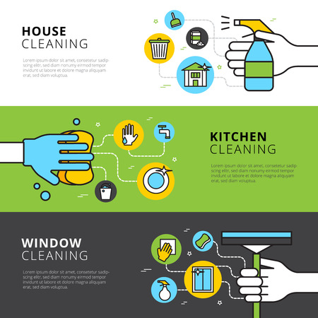 kitchen window: Cleaning flat horizontal banners with hands detergents and tools for house kitchen and window cleaning vector illustration Illustration