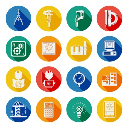 slant: Engineering building construction projects tools and equipment flat round slant shadow icons set abstract vector isolated illustration Illustration