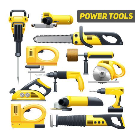 manejar: Herramientas del trabajador de construcción de energía eléctrica pictogramas planos establecidos en la ilustración vectorial aislado abstracto negro y amarillo