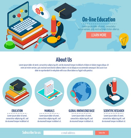 css: One page online education web design template with e-learning elements vector illustration
