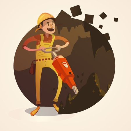 jack hammer: Mining concept with labor worker drilling with jack hammer in coalmine retro cartoon style vector illustration Illustration