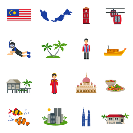Malaysian Culture Symbols And Tourist Attractions With Map And