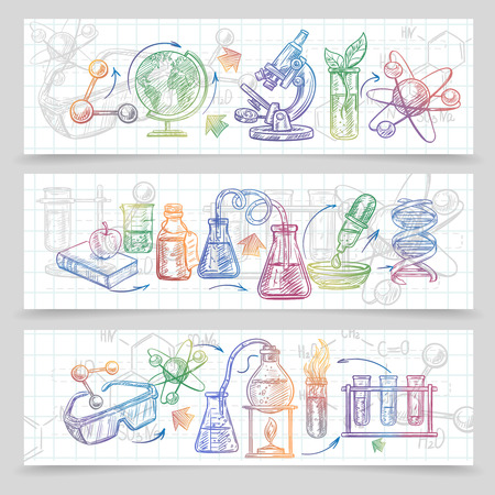 chemistry: Chemistry horizontal sketch banners set with microscope and glasses isolated vector illustration