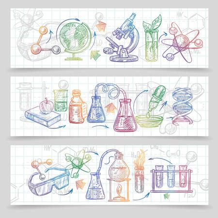 química: Química banderas bosquejo horizontal fijado con el microscopio y vasos aislados ilustración vectorial