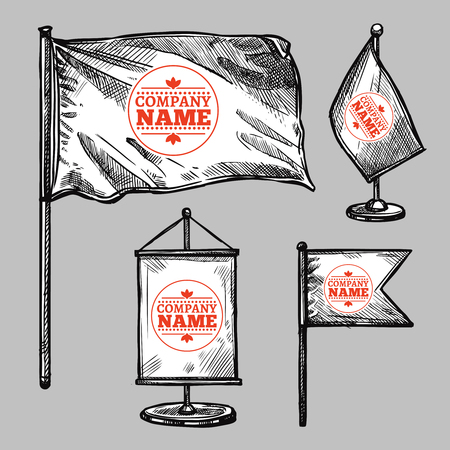 table sizes: Sketch flags set with a company icon on grey background isolated vector illustration