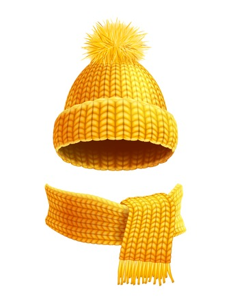 Modern winter knitted beanie hat with pompon and scarf set in yellow golden realistic pictogram vector illustration Vectores