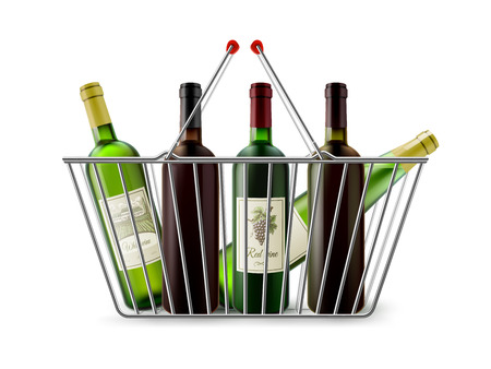 plated: Chrome plated wire metal double handles square shopping basket with wine bottles realistic image pictogram vector illustration Illustration