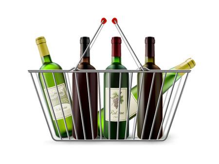 Verchroomd draad metal dubbele handgrepen vierkante winkelmandje met wijnflessen realistische afbeelding pictogram vector illustratie Stock Illustratie