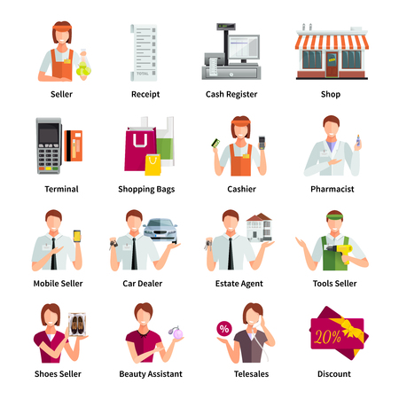 Salesman flat color icons set with pharmacist car dealer estate agent mobile seller isolated vector illustration Illustration