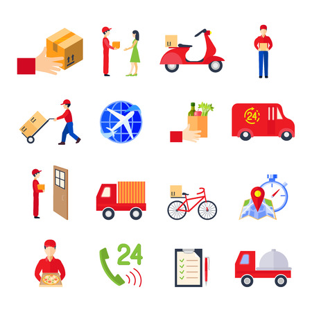 personal service: Flat delivery colorful icon set with transport order personal service vector illustration Illustration