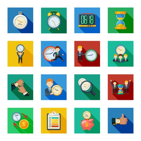 slant: Time management money saving with hourglass sand clock flat icons slant shadow set abstract isolated vector illustration