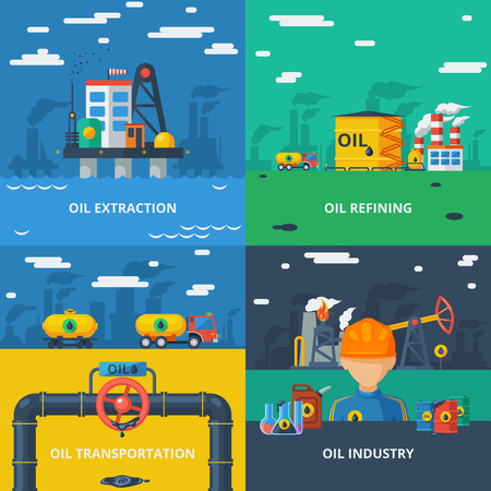 terminal: Oil industry design concept set with extraction refining and transportation isolated vector illustration Illustration