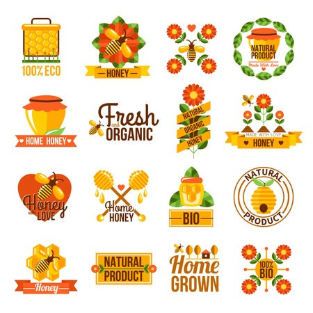 home grown: Flat label set of natural honey advertising with bees honeycomb structure and flowers isolated vector illustration
