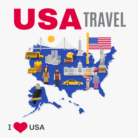 usa: World travel agency USA top tourists attraction poster with national symbols landmarks and country map flat vector illustration Illustration