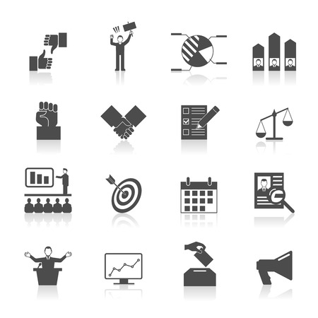 politic: Politic icons set with election symbol voting diagram in black and white vector illustration