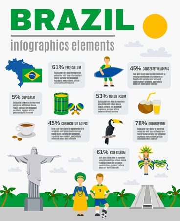 recreational: Brazilian sightseeing landmarks recreational and cultural attractions for tourists flat poster with infographic elements abstract vector illustration